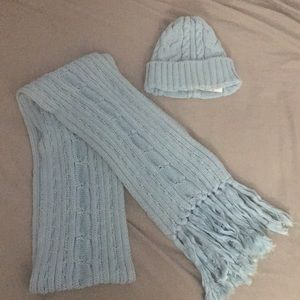 Cotton Blue Scarf and Beanie Set